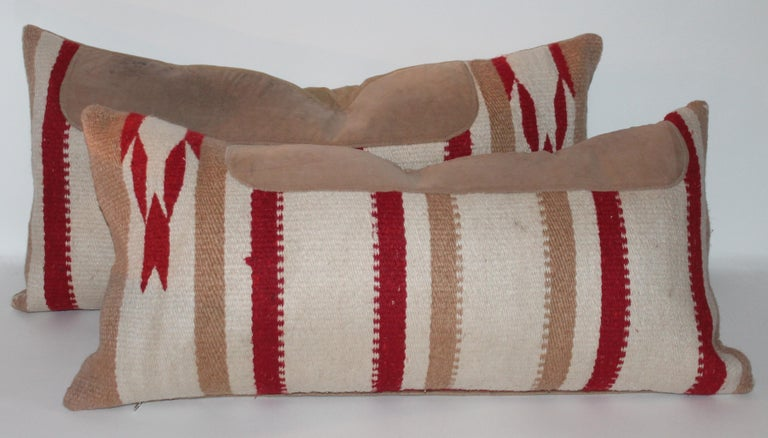 Leather Navajo Indian Weaving / Saddle Blanket Pillows, Pair For Sale