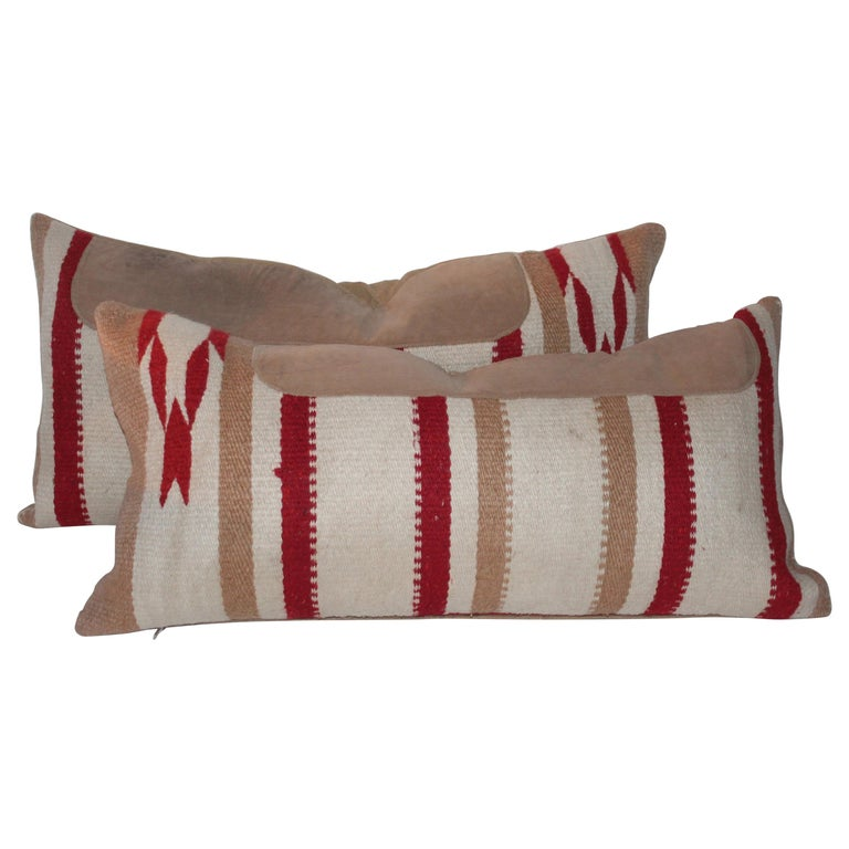 Navajo Indian Weaving Saddle Blanket Pillows, Pair For Sale