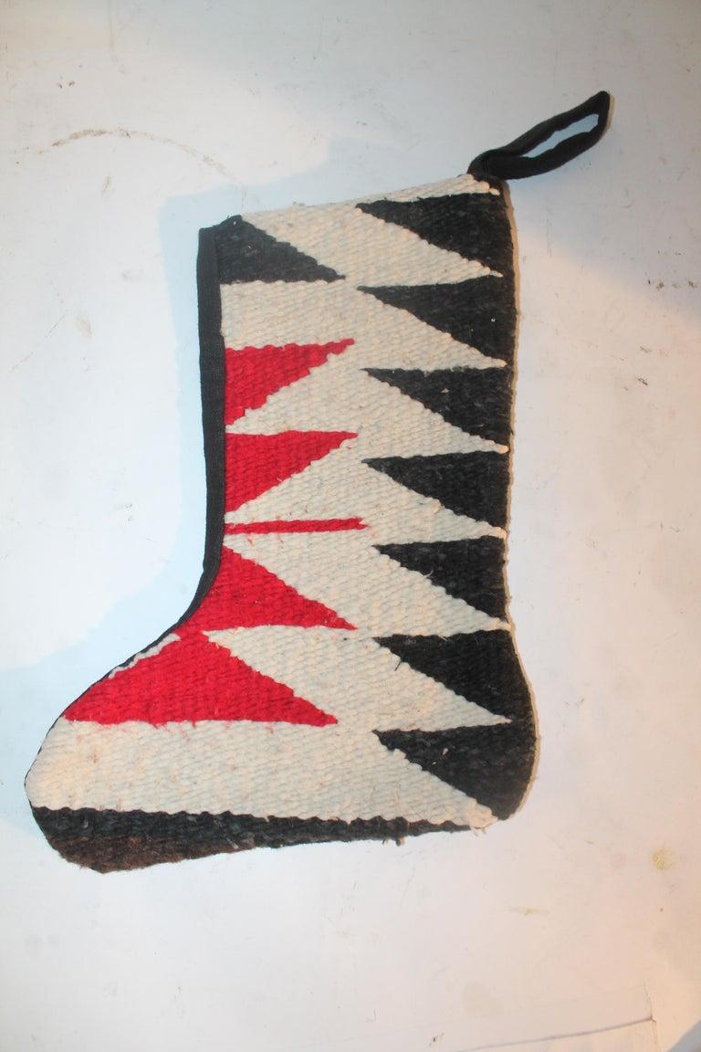 American Navajo Indian Weaving Xmas Stockings, Pair For Sale