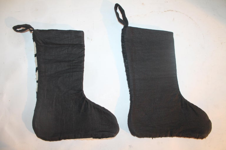 Hand-Crafted Navajo Indian Weaving Xmas Stockings, Pair For Sale
