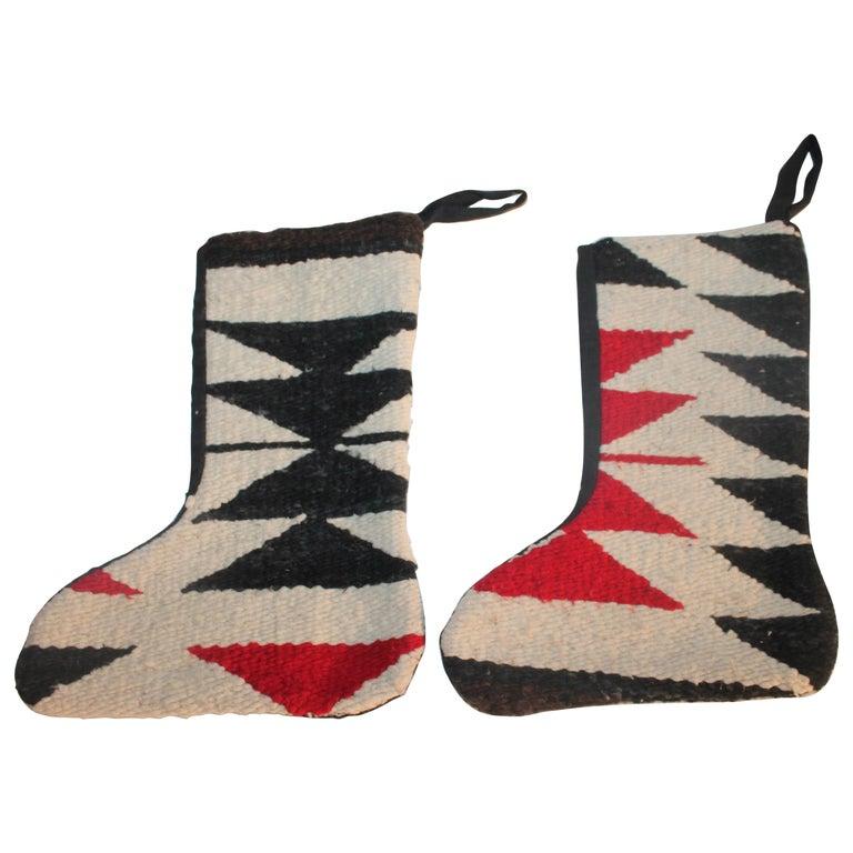Navajo Indian Weaving Xmas Stockings, Pair For Sale
