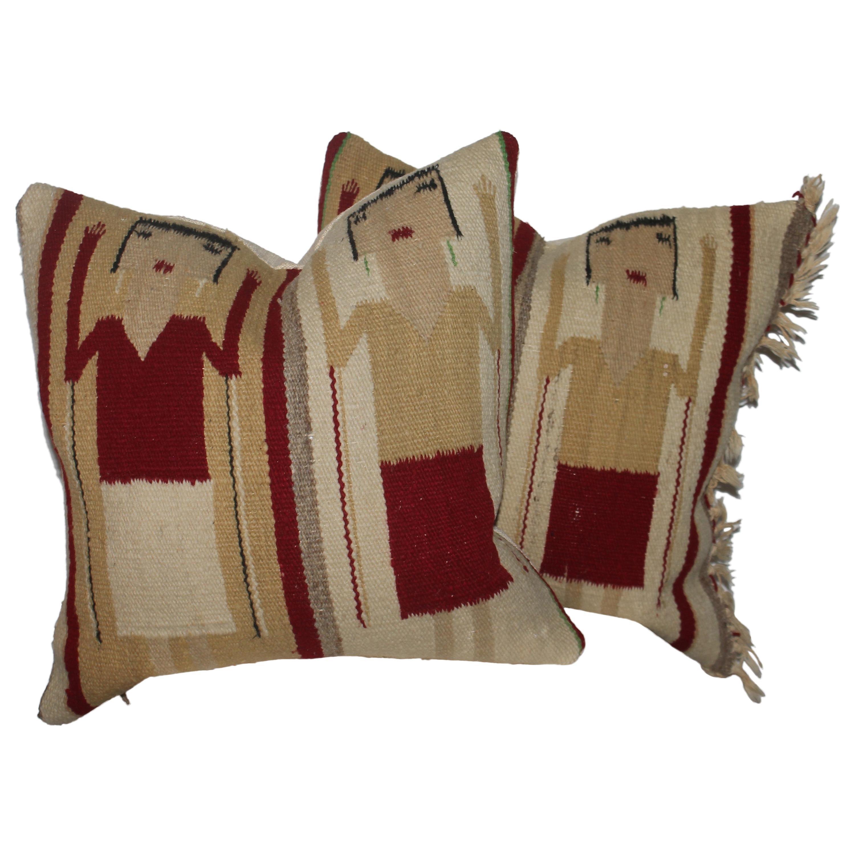 Navajo Indian Weaving Yei Pillows, Pair