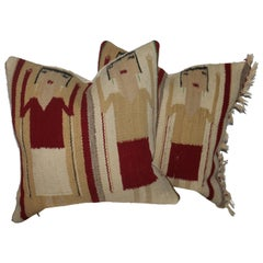 Navajo Indian Weaving Yei Pillows, Pair