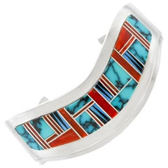 Navajo Inlaid Stone Cuff Bracelet