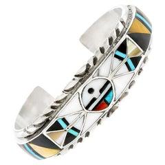 Navajo Inlaid Sun Face Multi-Stone Cuff Bracelet Zuni