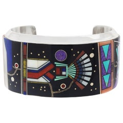 Navajo Intarsio Yei with Night Sky Sterling Cuff Bracelet