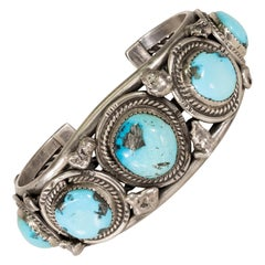 Navajo Kingman Turquoise and Sterling Bracelet