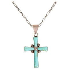 Navajo Kingman Turquoise and Sterling Cross Necklace