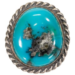 Navajo Kingman Turquoise and Sterling Ring