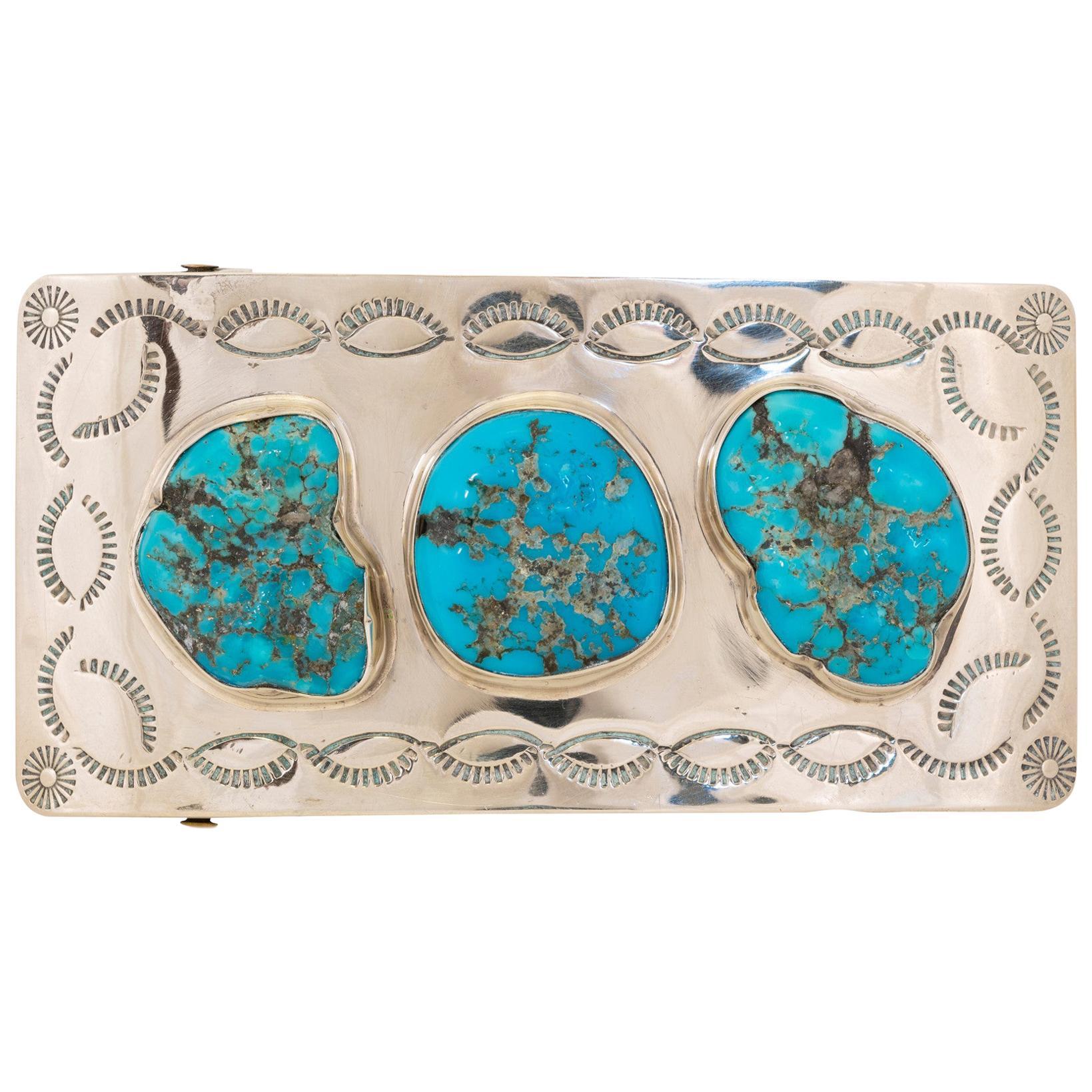 Navajo Kingman Turquoise Belt Buckle