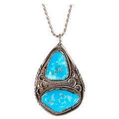 Navajo Kingman Turquoise Chain and Pendant