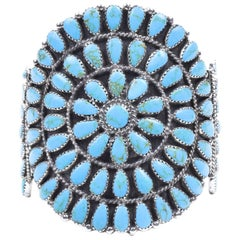 Navajo Kingman Turquoise Cluster Bracelet