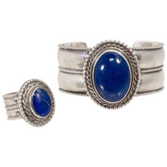 Navajo Lapis and Sterling Bracelet and Ring Set
