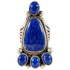Navajo Lapis and Sterling Silver Bear Paw Ring
