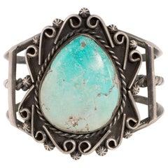 Navajo Manassa Turquoise and Sterling Bracelet