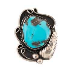 Navajo Morenci Turquoise and Sterling Ring