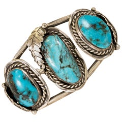 Navajo Morenci Turquoise and Sterling Bracelet