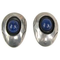 Navajo Native American Lapis Lazuli Shadow box Sterling Silver Earrings