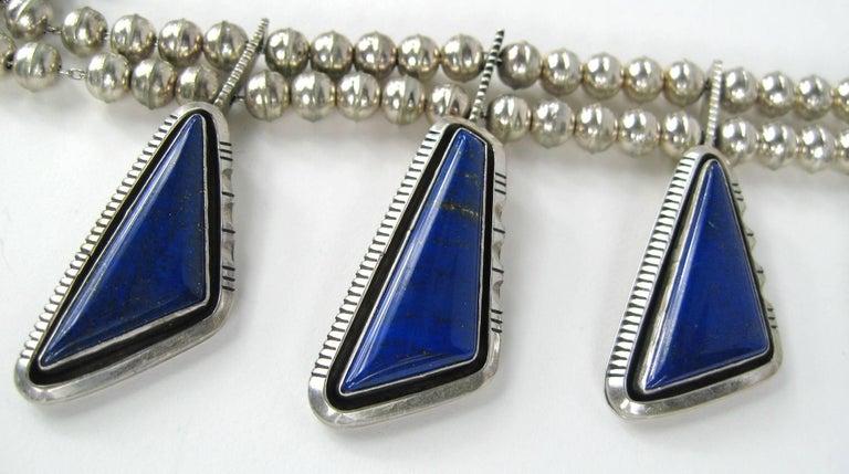 Navajo Native American  Sterling Silver Lapis Lazuli Squash Blossom Necklace For Sale 1