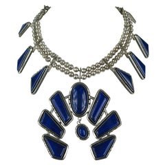 Navajo Native American  Sterling Silver Lapis Lazuli Squash Blossom Necklace