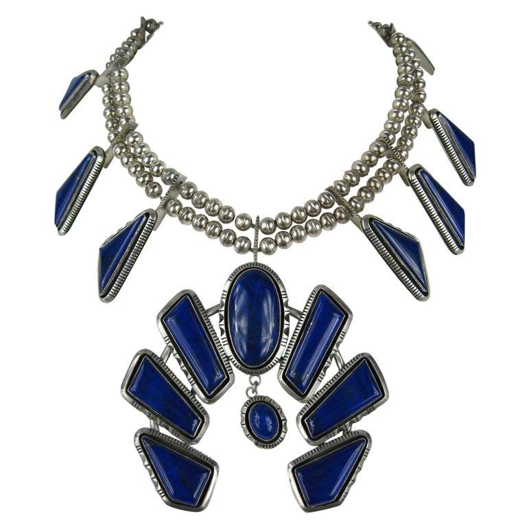 Navajo Native American  Sterling Silver Lapis Lazuli Squash Blossom Necklace For Sale