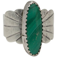 Navajo Native American Sterling Silver Malachite Cocktail Ring, Vintage
