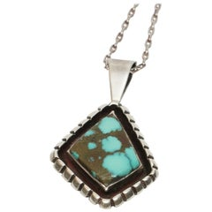Navajo Native American Turquoise Pendant Necklace by Eugene Belone EB