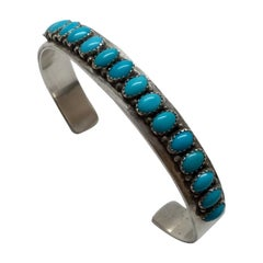 Navajo Patrick Yazzie Sterling Silver Turquoise Cuff Bracelet