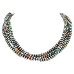 Navajo Pearls Sterling Necklace