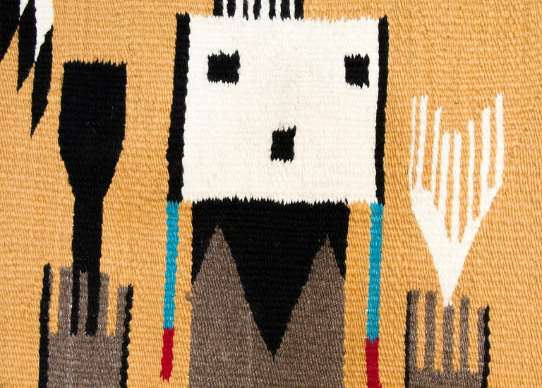 Native American Navajo Rug, Pictorial Yei Weaving, circa 1950, Yellow, Black, White, Blue, Red For Sale
