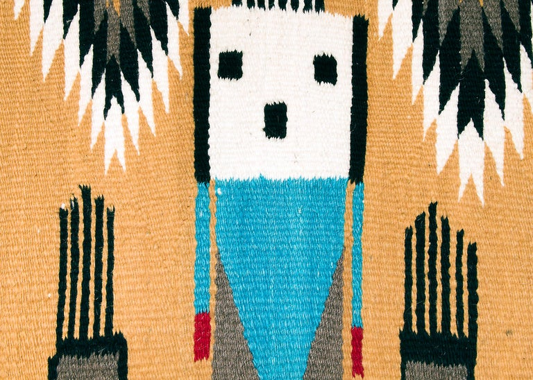American Navajo Rug, Pictorial Yei Weaving, circa 1950, Yellow, Black, White, Blue, Red For Sale