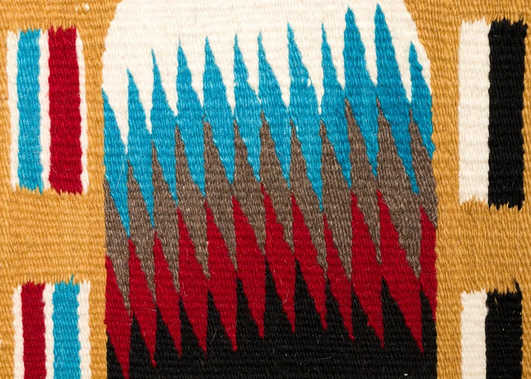 Hand-Woven Navajo Rug, Pictorial Yei Weaving, circa 1950, Yellow, Black, White, Blue, Red For Sale