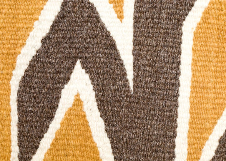 Navajo Rug, Pictorial Yei Weaving, circa 1950, Yellow, Black, White, Blue, Red In Good Condition For Sale In Denver, CO