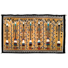 Navajo Rug, Pictorial Yei Weaving, circa 1950, Yellow, Black, White, Blue, Red