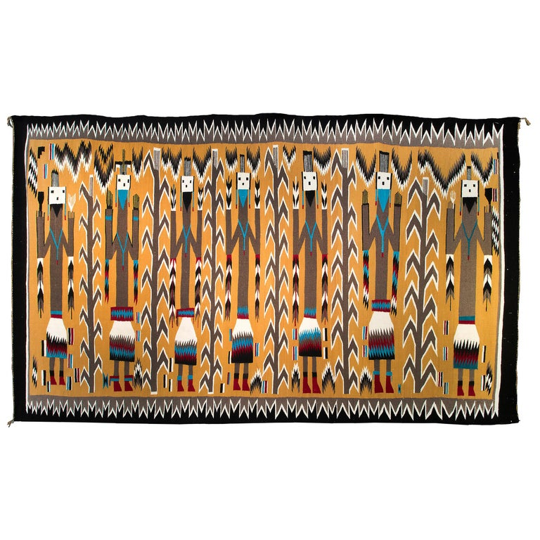 Navajo Rug, Pictorial Yei Weaving, circa 1950, Yellow, Black, White, Blue, Red For Sale