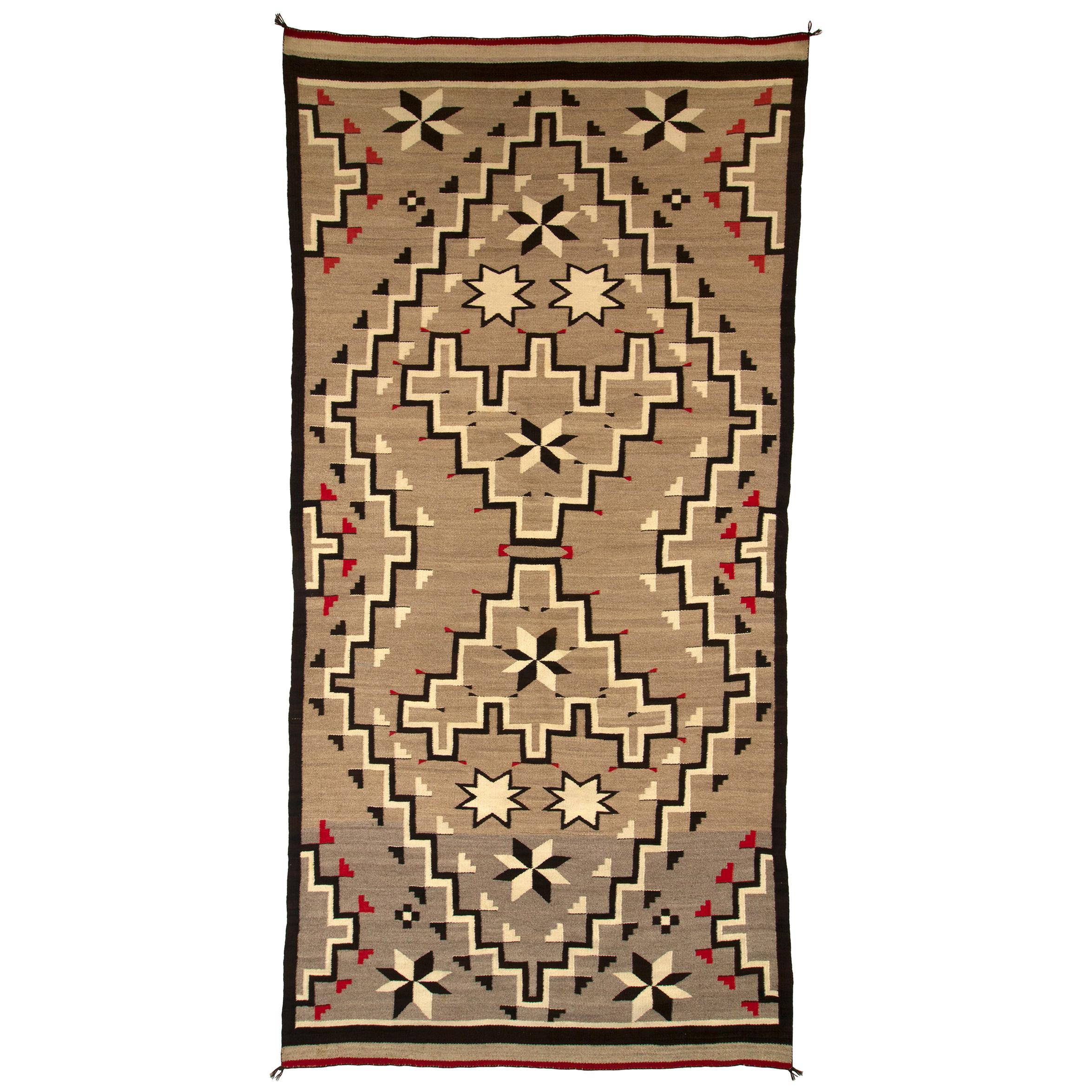 Navajo Rug, Vintage circa 1935 Trading Post Era Southwestern Weaving