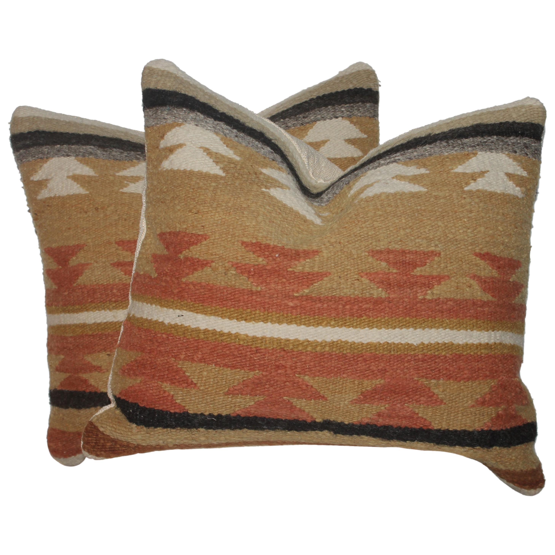 Navajo Saddle Blanket Weaving Pillows, Pair
