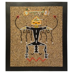 California Studio Navajo Sand Painting Mosaic Art Panel of Thunderbird, 1960s