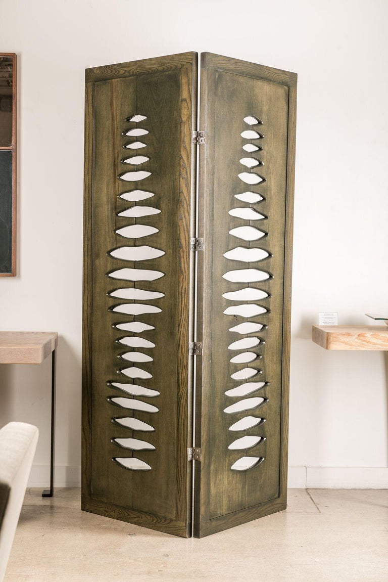 Contemporary 'Navajo' Sculptural Screen Space Divider in Solid Wood by Vivian Carbonell For Sale