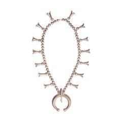 Navajo Silver Sand Cast Squash Blossom Necklace