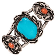 Navajo Sleeping Beauty Turquoise and Coral Bracelet