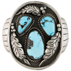 Navajo Sleeping Beauty Turquoise and Sterling Bracelet