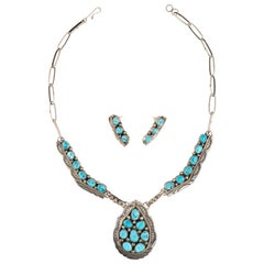 Navajo Sleeping Beauty Turquoise Necklace and Earrings Set