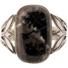 Navajo Snowflake Obsidian and Sterling Bracelet