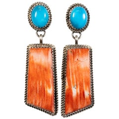 Navajo Spiny Oyster and Turquoise Earrings