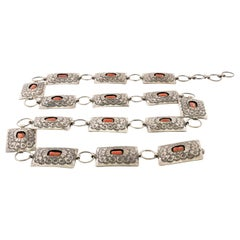 Navajo Sterling and Coral Concho Belt