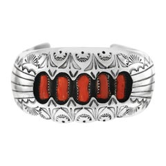 Navajo Sterling and Coral Cuff