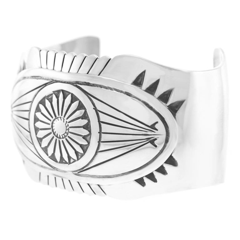 Native American Navajo Sterling Cuff Bracelet For Sale