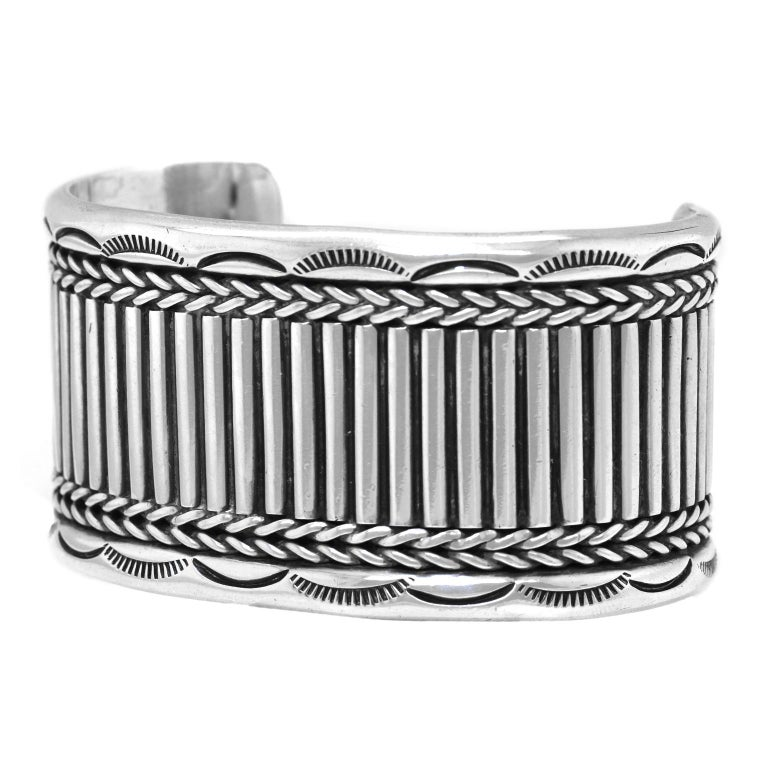 Navajo Sterling Cuff Bracelet In Excellent Condition For Sale In Litchfield, CT