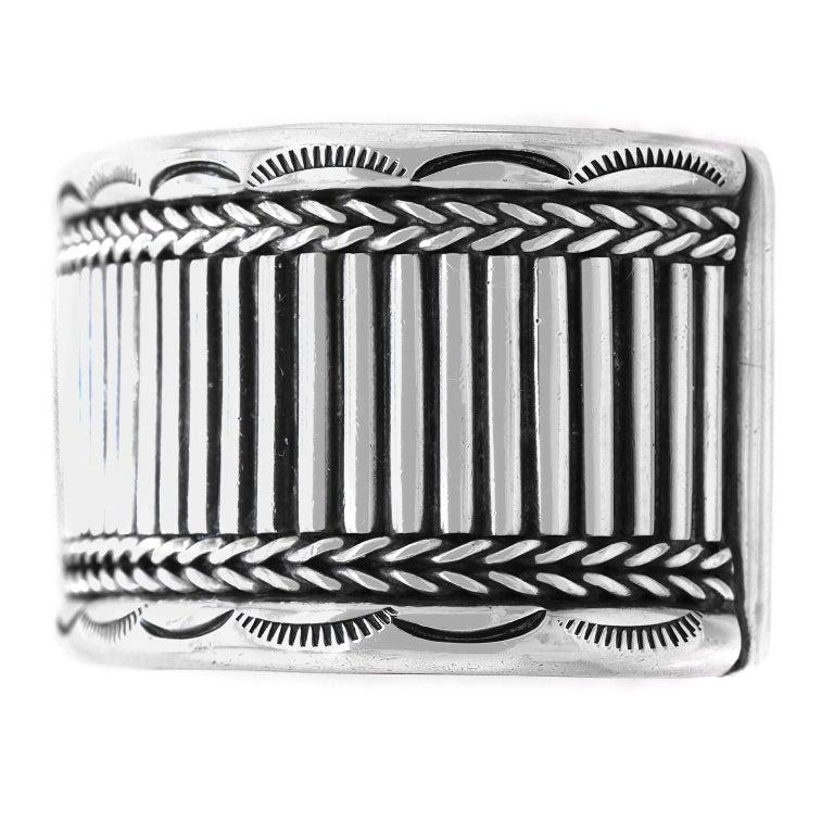 Navajo Sterling Cuff Bracelet For Sale 2